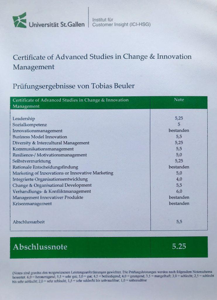 Zeugnis Tobias Beuler / St. Gallen