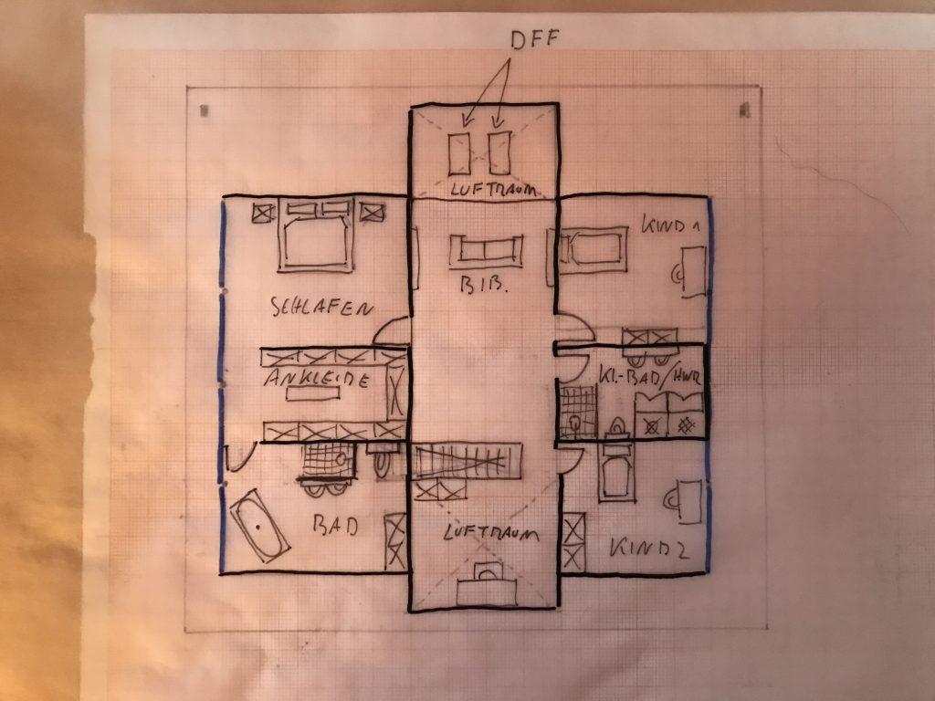 Skizze modernes Fachwerkhaus